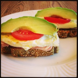 Slow carb bread breakfast sandwich