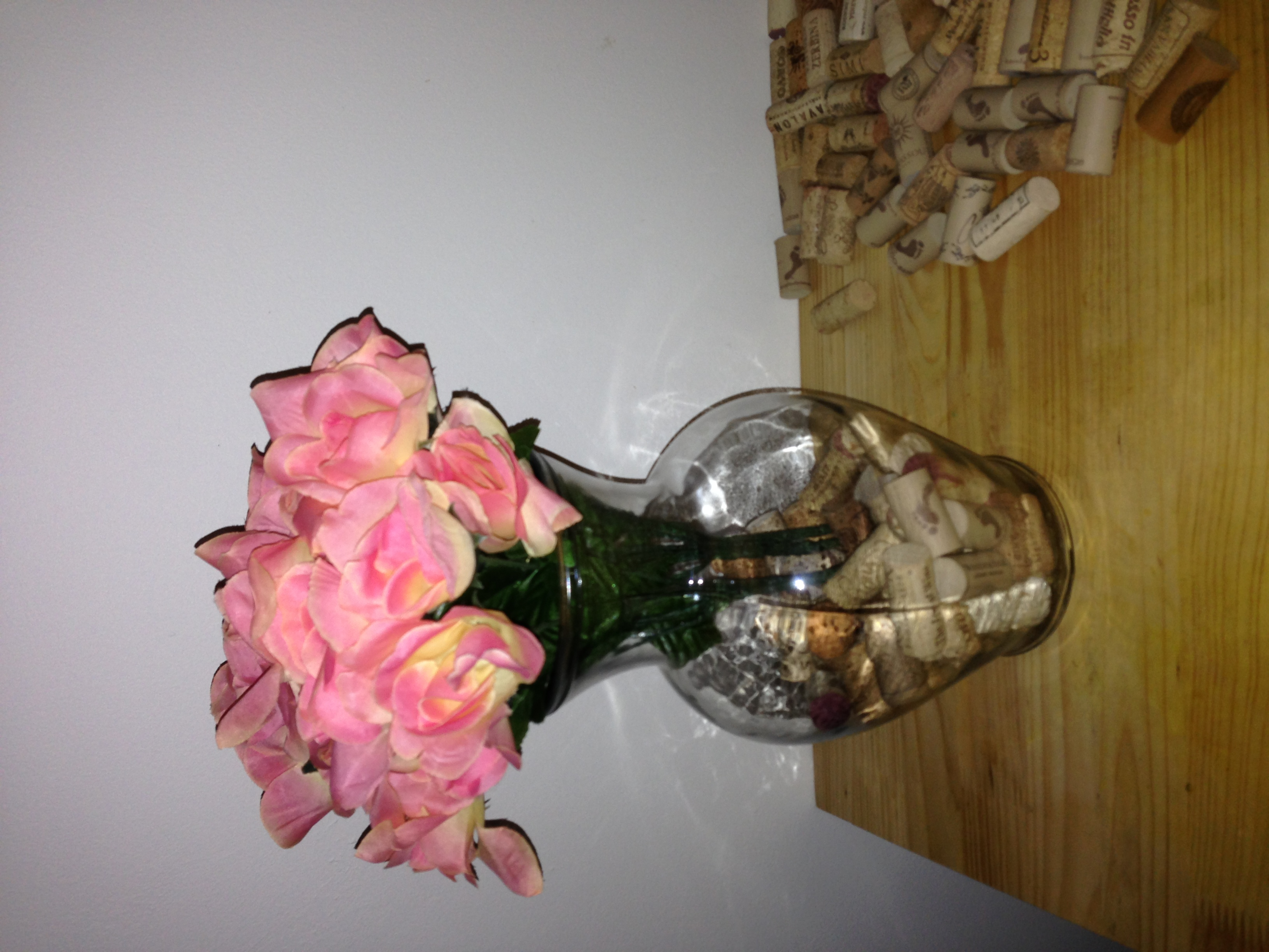 Diy wine cork vase decor eat teach laugh craft wine cork vase half full reviewsmspy