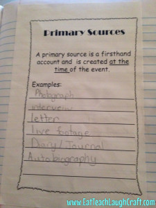 primary source interactive notebook
