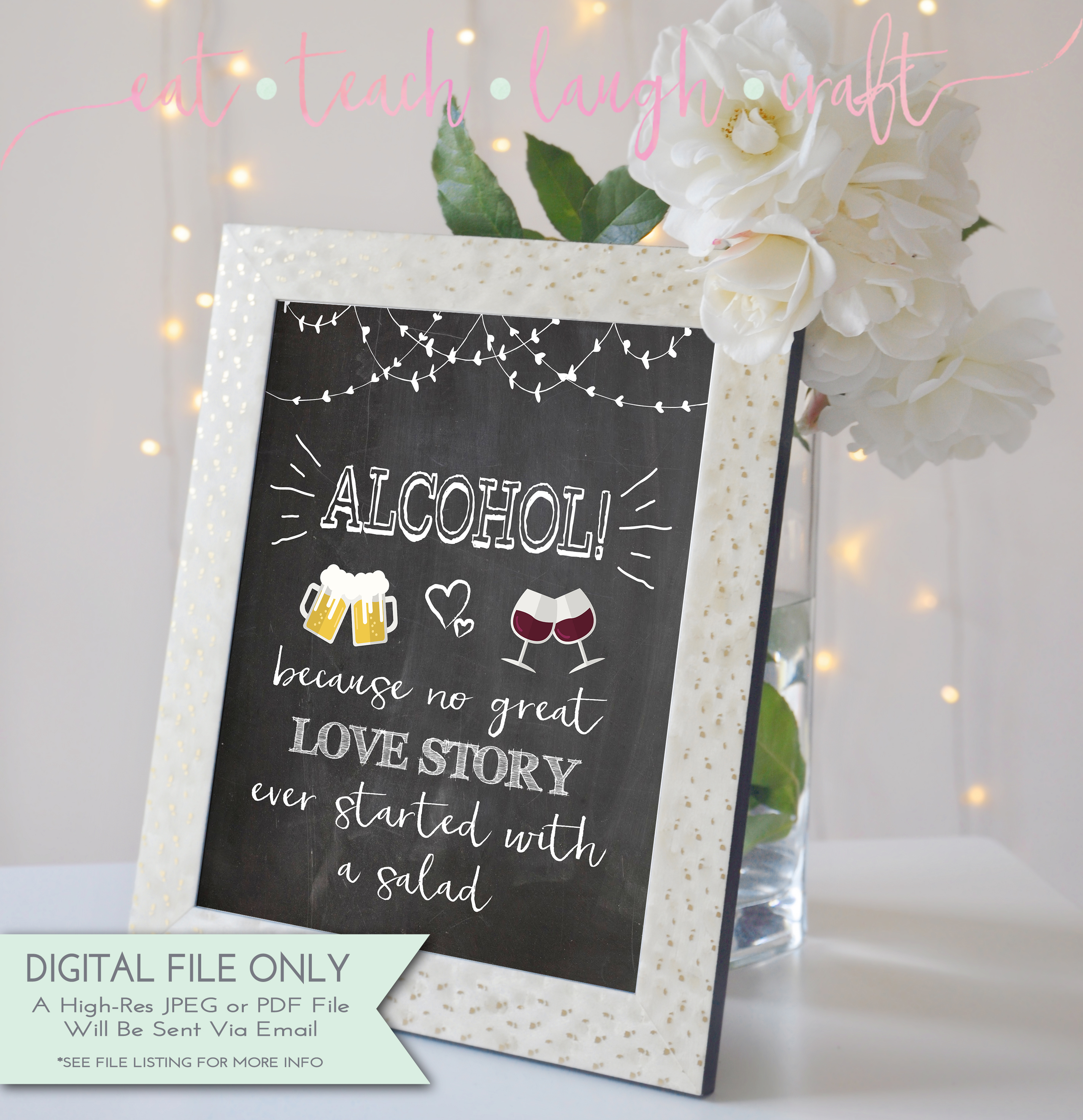 Pink /& Gold Floral Deco Alcohol Bar Love Story Wedding Sign Print