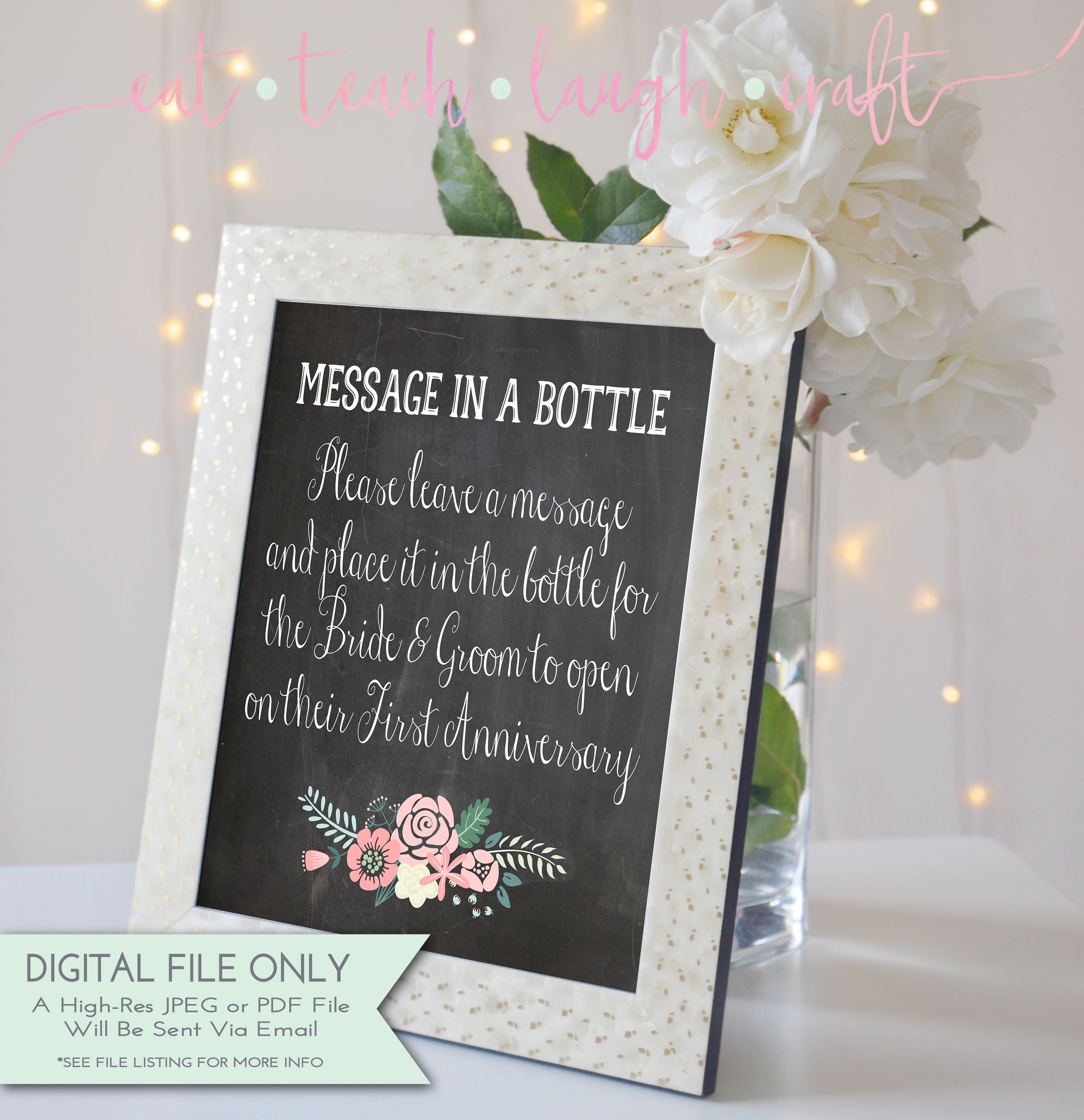 Message in a bottle chalkboard print 8x10 eat teach laugh craft message in a bottle chalkboard print 8x10 jeuxipadfo Image collections