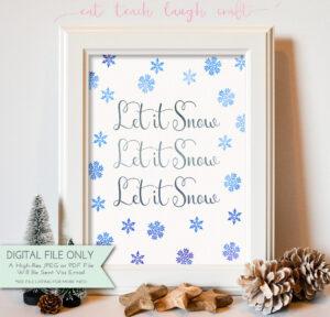 Let It Snow Christmas Printable Mockup