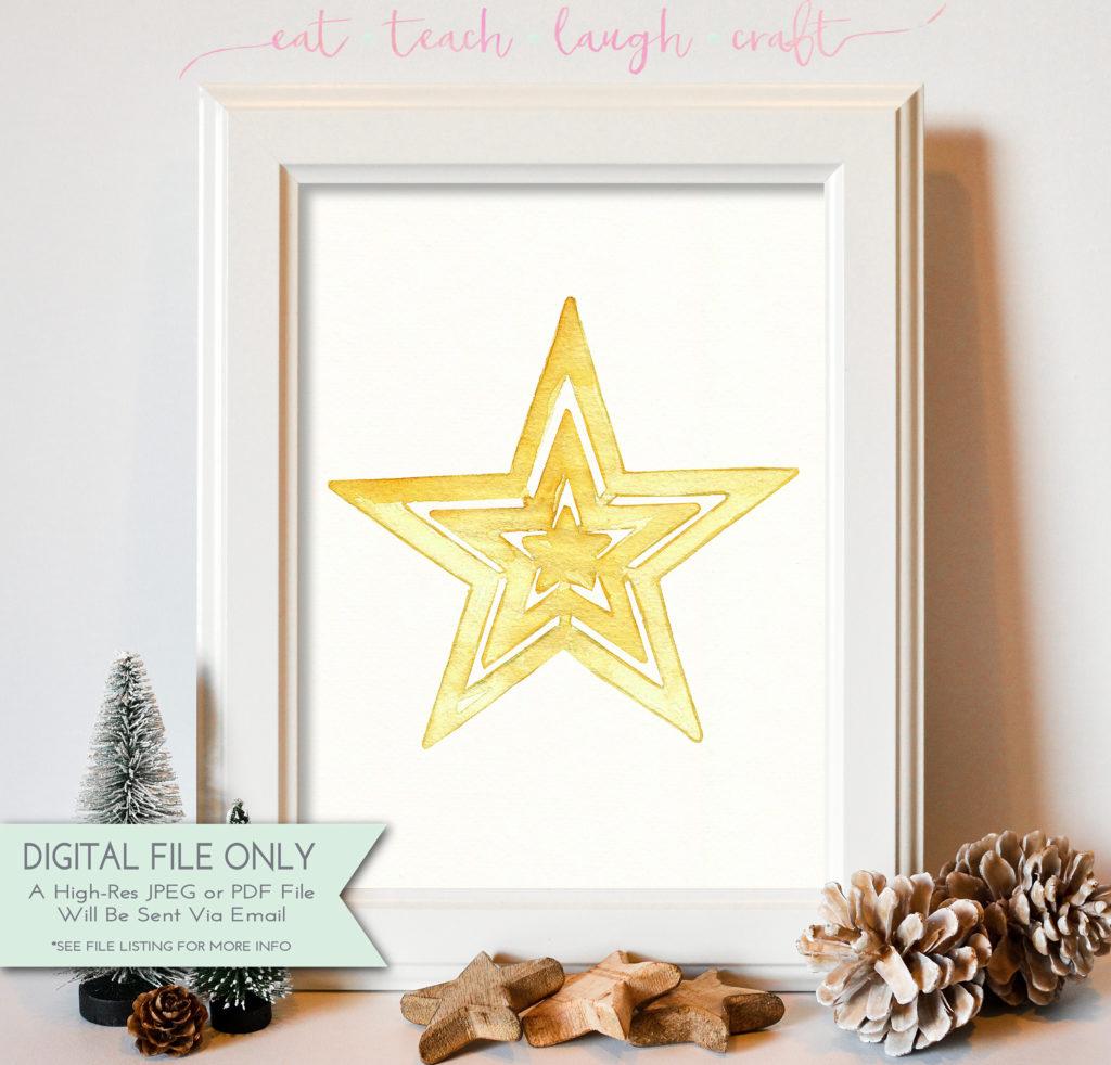 Gold Watercolor Star Print 8x10 Eat Teach Laugh Craft