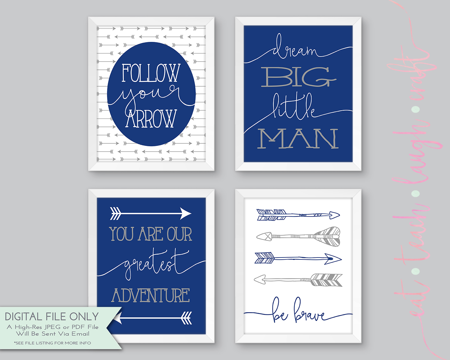 Dream Big Little Man - Nursery Print - Navy & Gray {8x10} - Eat ...