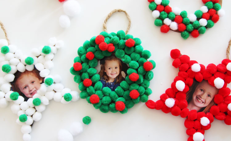 Pom Christmas Photo Ornaments